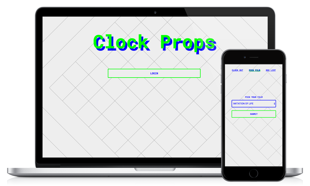 Screenshot of Clock Props, React and Firebase Project